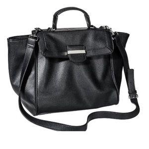 Black Faux Pebble Leather Tote Bag w/Handle+Strap